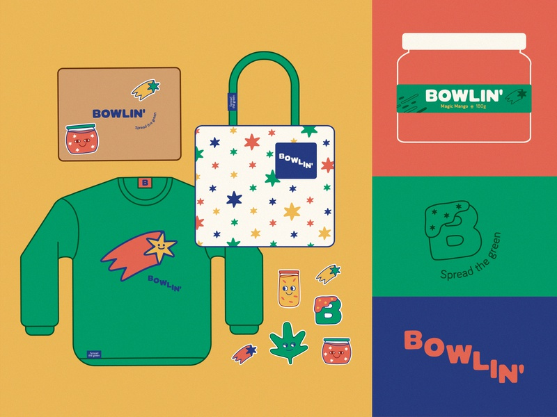 BOWLIN lettering mexico city logo branding cannabis weed spreadthegreen