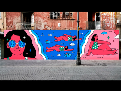 AMOR AL MAR sunset fish sea woman mexico city