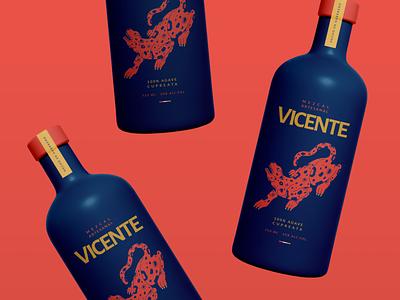 VICENTE MEZCAL poster print vector illustration packaging drink jaguar branding design logo branding