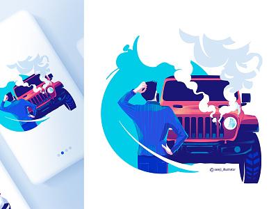 FlipRide freelancer app illustration ui illustration app design car flag design illustrator illustration