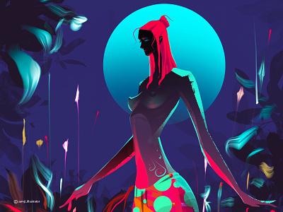 unearthly girl women procreate editorial illustration character design illustrator illustration