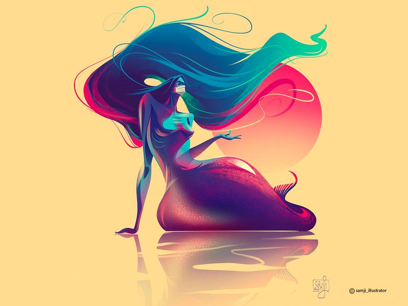 #mermay Mermaid freelance illustrator mermaid girl women procreate editorial illustration character design illustrator illustration
