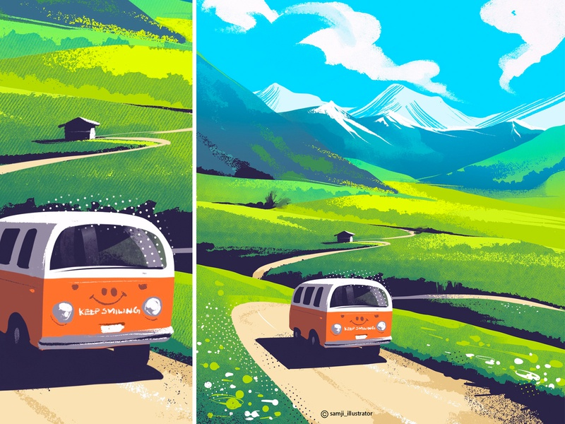 Italian Alps mountain smile van nature illustration landscape illustration landscape procreate flag design editorial illustration illustrator illustration