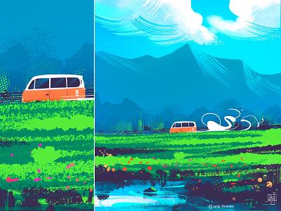 Travel vibe vibe travel clouds van nature illustration landscape procreate flag design editorial illustration illustrator illustration