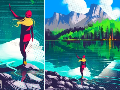 Alberta procreate art procreate vibe travel nature landscape illustration landscape flag design illustrator illustration