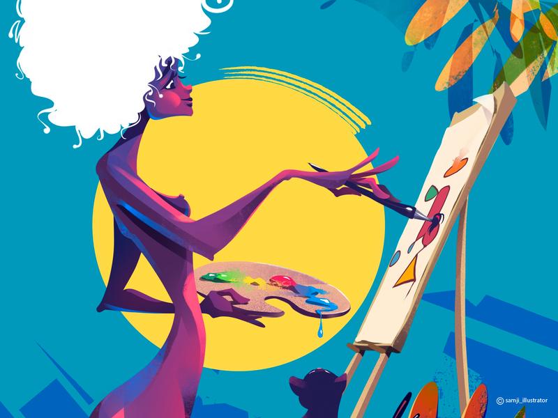 Freedom of expression...☘️ painter freelance illustrator cat girl women procreate flag design editorial illustration character design illustrator illustration