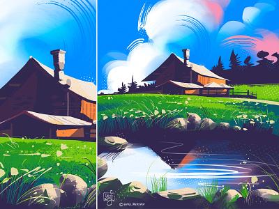 Dolomites, Italy freelance illustrator landscape illustration nature illustration procreate flag design illustrator illustration