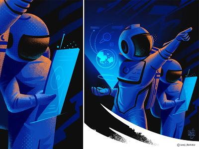 Terra's Mission procreate art flat design flatillustration freelance illustrator sapce astronout flag design character design illustrator illustration