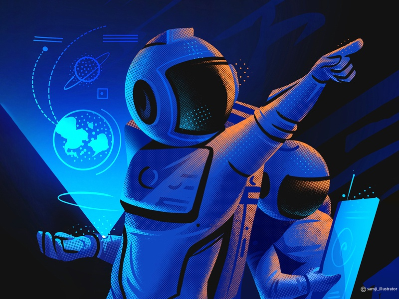 Terra's Mission sci-fi sci fi space astronut flag design character design illustrator illustration