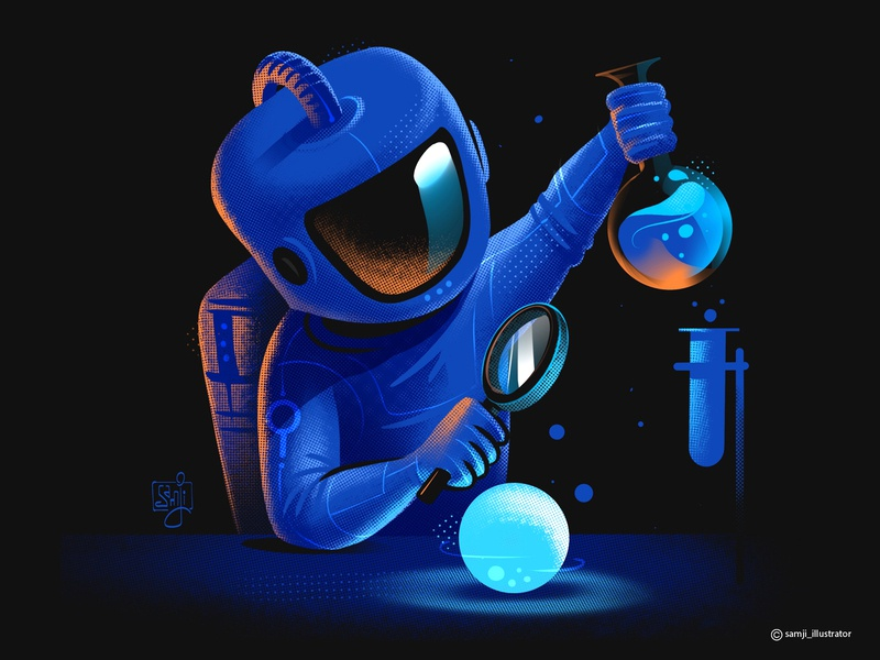 Research_Team freelance illustrator spaceart astronaut procreate app procreate art character design editorial illustration flag design procreate
