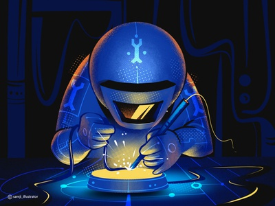 Infrastructure_Team engineering astronout spaceman freelance illustrator illustration art procreate character design