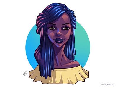 Headshot headshot illustrator portrait illustration portrait african american women girl character design illustration