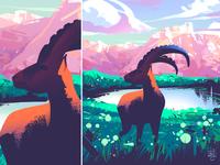 Chamonix mountain deer illustration nature illustration landscape illustration editorial illustration procreate illustrator illustration