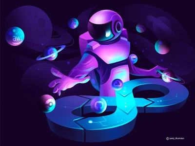 Astrodude programmer planet astronaut spaceman space vector illustration hero illustration editorial illustration flag design character design illustrator illustration