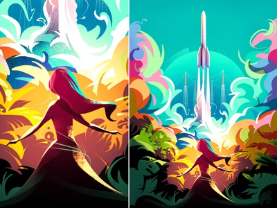 Ariane 6 vector illustration flat illustration rockets rocket space editorial art girl women illustrator illustration
