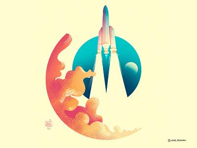 Ariane 5 vector illustration space rocket flat illustration editorial art illustrator illustration
