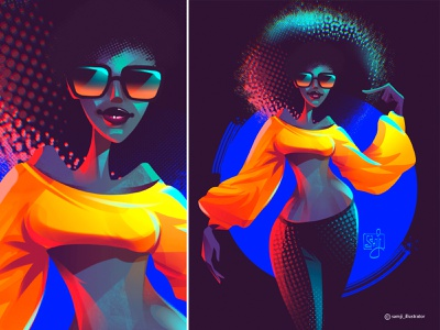 Radiant shades girl women procreate character design illustrator illustration