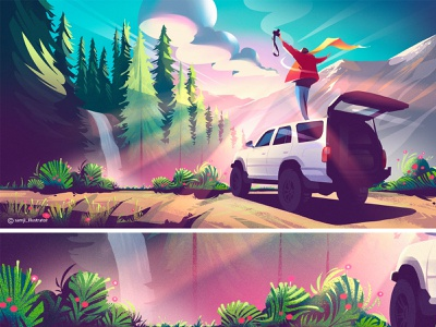 Hero image illustration cloud camera car nature illustration landscape illustration illustrator illustration