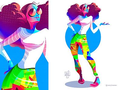 Character illustration afro girl procreate character design illustrator illustration