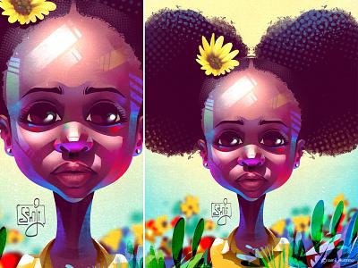Portrait illustration kid portrait illustration portrait samji illustrator african girl procreate character design illustrator illustration