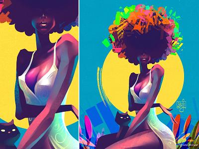 Caverito freelance illustrator samji illustrator cat afro girl editorial illustration procreate character design illustrator illustration