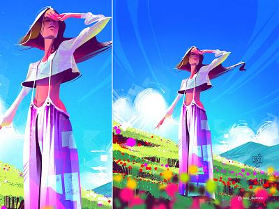 Un Rayo De Sol 🎶 samji illustrator freelance illustrator girl procreate character design illustrator illustration