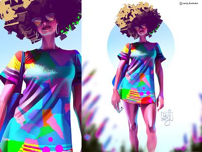 Figure illustration freelance illustrator samji illustrator girl procreate character design illustrator illustration