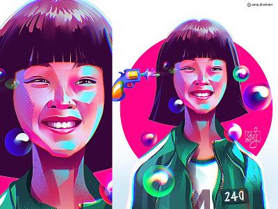 Ji-yeon squid game procreate freelance illustrator samji illustrator potrait girl character design illustrator illustration