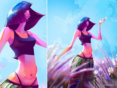Un respiro al viento 🎶 samji illustrator freelance illustrator girl procreate character design illustrator illustration