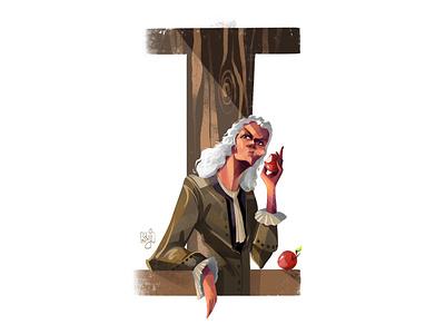 Issac Newton typography design tyography character design editorial art editorial illustration illustrator illustration