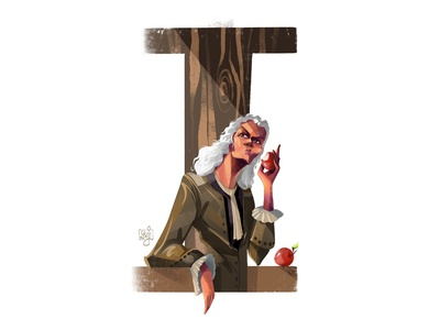 Issac Newton typography design tyography character design editorial art editorial illustration illustrator illustration