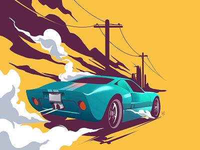 Vintage wheels ford vector illustration vector artwork flag design design illustrator illustration