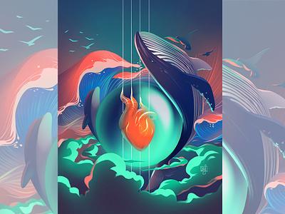 cover art heart whale music art concept art design editorial art editorial illustration illustrator illustration