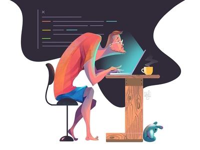 Programmer 💻//- coding coffee designer programmer web graphic ui design character design flag design design illustrator illustration