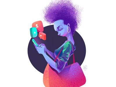 Be Different digital illustration drawing web illustration afro stylist girl character design illustrator illustration