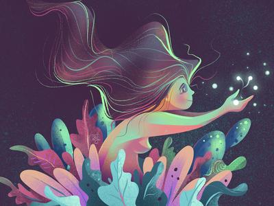 The Magical Abyss childrens illustration mermaid magic girl women concept art flag design design editorial illustration illustrator illustration