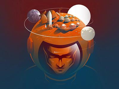 Quest to Mars astronaut space mars concept art flag design editorial illustration illustrator illustration