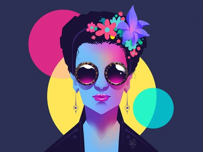 Postmodernism frida kahlo affinity designer flatdesign girl vector women character design flag design editorial art editorial illustration illustrator illustration