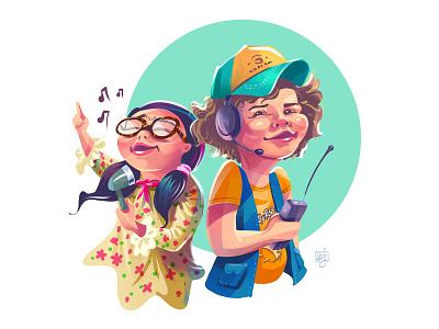 Dustin and Suzie😎 cap girl character 80s song character illustration suzie dustin netflix strangerthings fanart character design illustrator illustration