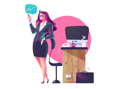 Business woman girl character illustration halftone bussiness coffe women character design illustration