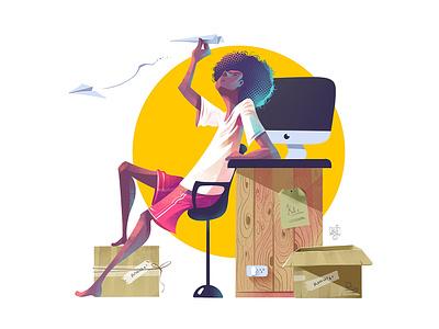 Character Illustration workspace character illustration afro imac paper plane boy illustrator character design illustration
