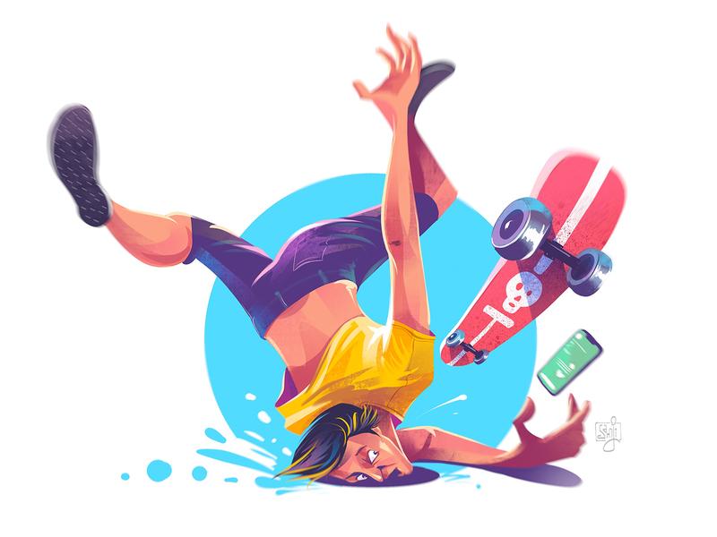 The Kiss skateboard skating character illustration flag design character design illustrator illustration