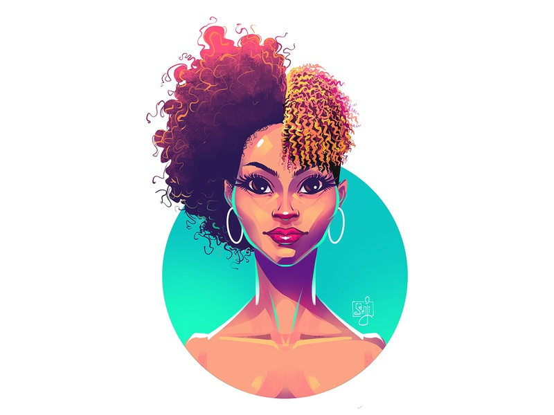 Curly curly hair afro portrait illustration woman portrait woman procreate character design illustrator illustration