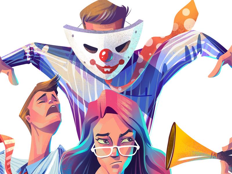sneak peek 👀 cover illustration magazine illustration office colleagues man women procreate editorial art character design editorial illustration illustration