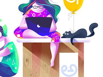 Technology Skill in Native Languages programmer flat illustration vector illustration web illustration cat girl flag design character design illustrator illustration