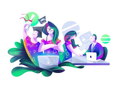 Integrated Personalized Platform web illustration women character design illustrator illustration