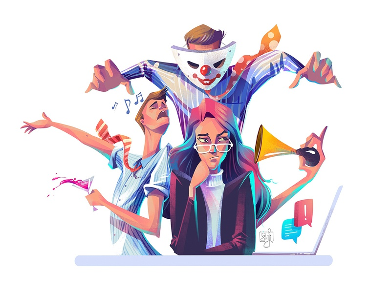 Annoying Colleagues magazine illustration women flag design editorial art editorial illustration character design illustrator illustration