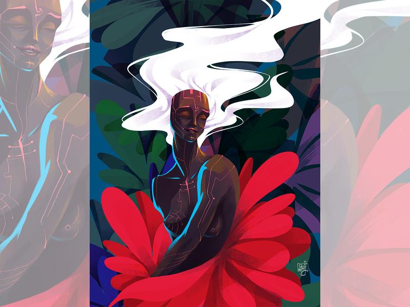 WIP editorial art procreate floral girl women concept art editorial illustration illustrator illustration