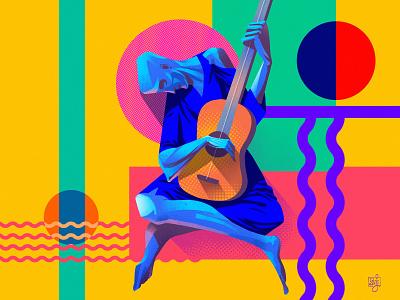 Funky vector illustration flat illustration modern illustration modern design picasso guitar editorial art editorial illustration illustrator illustration