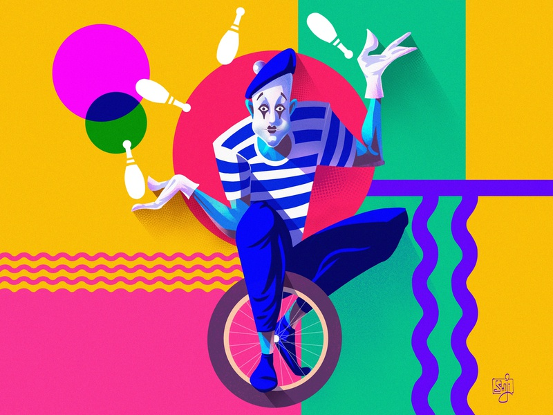 Mime Juggler (Funky Period) modernism mime juggler procreate flag design character design editorial illustration illustrator illustration